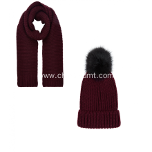 Burgundy Knitted Hat and Scarf